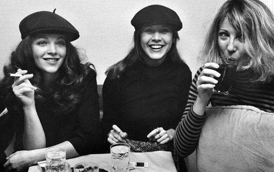 Amy Irving, Carrie Fisher, and Teri Garr at a party, November 21, 1977