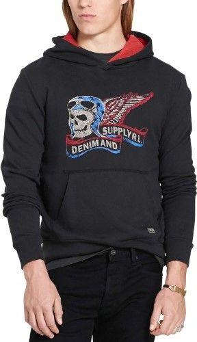 Polo Ralph Lauren Denim & Supply Ralph Lauren Mens Biker Skull French Terry Logo Hoodie Sweatshirt
