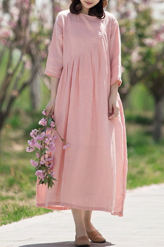61e5163026 Summer A Line Linen Maxi Dress For Women Q70512