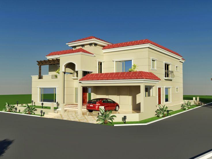 60' X 100' Wapda Town 1 Kanal House Design 3D Front Elevation In