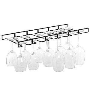 AmazonSmile: Modern Black Metal Wire Under Cabinet Stemware Wine Glasses Hanger Organizer Storage Holder Rack: Home & Kitchen