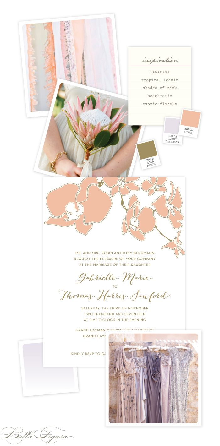 Sophisticated floral destination wedding invitation inspiration from