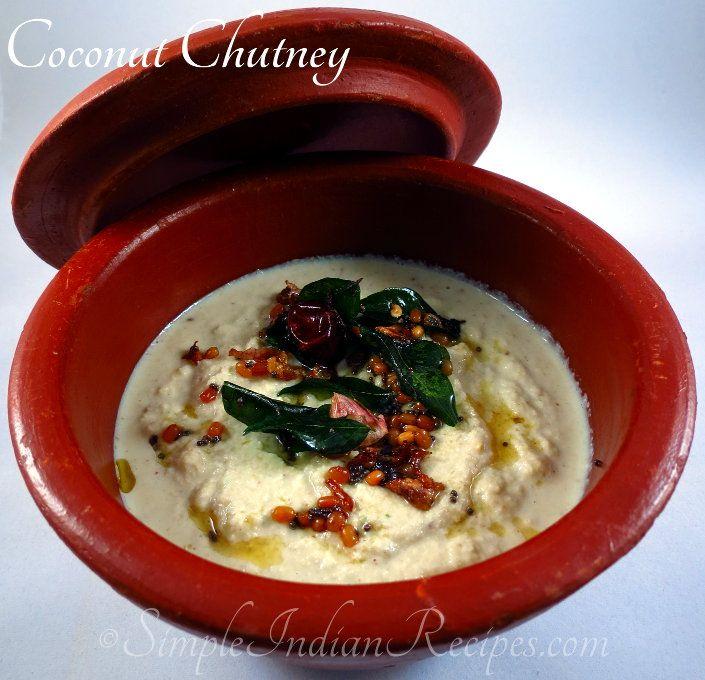 Coconut Chutney:  Basic creamy coconut chutney for any south Indian breakfast. Try the recipe @ http://simpleindianrecipes.com/coconutchutney.aspx