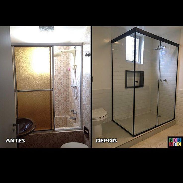 Antes & Depois de banheiro ampliado!  Fizemos uma reforma geral neste apartamento antigo! 🛠✨ #reforma #antesedepois #banheiro #box #revestimentos #arquitetura #arquiteturadeinteriores #arquiteturaedesign