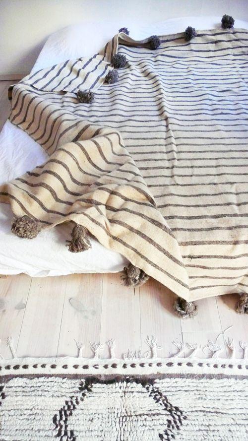 Moroccan POM POM Wool Blanket -  Gray Stripes