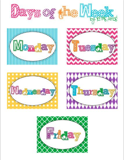 Yo! Ms. Amos!: Days of the Week: Free Printable