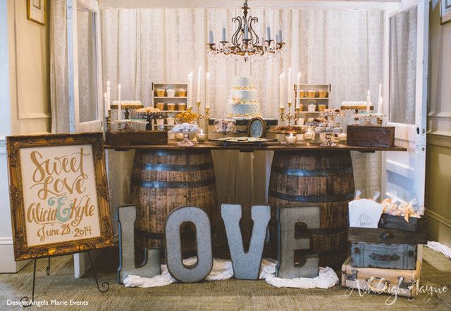 Rustic-Chic Dessert Table on Wine Barrels- earlyivy.com