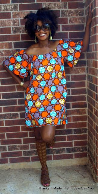 Thanks! I made them!: On Trend and Off the Shoulder. Dress in Ankara Dutch Wax.