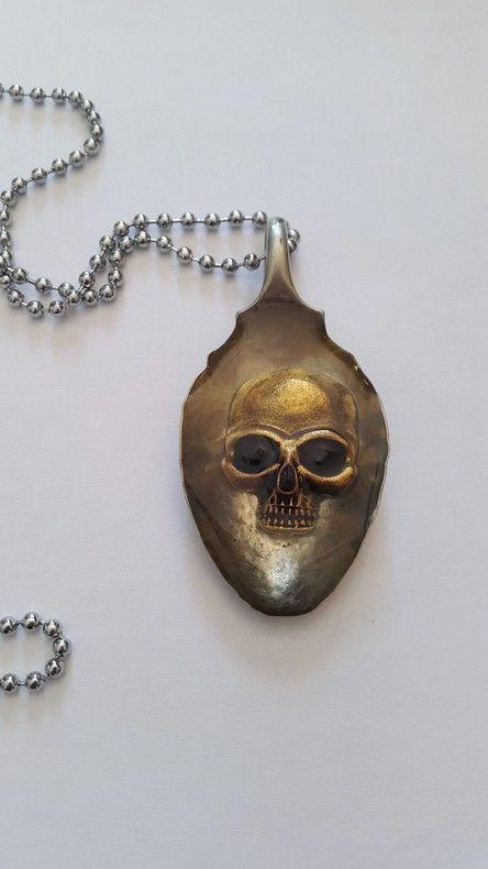 Vintage Spoon Skull Pendant by Zen Metal for sale on http://hellopretty.co.za