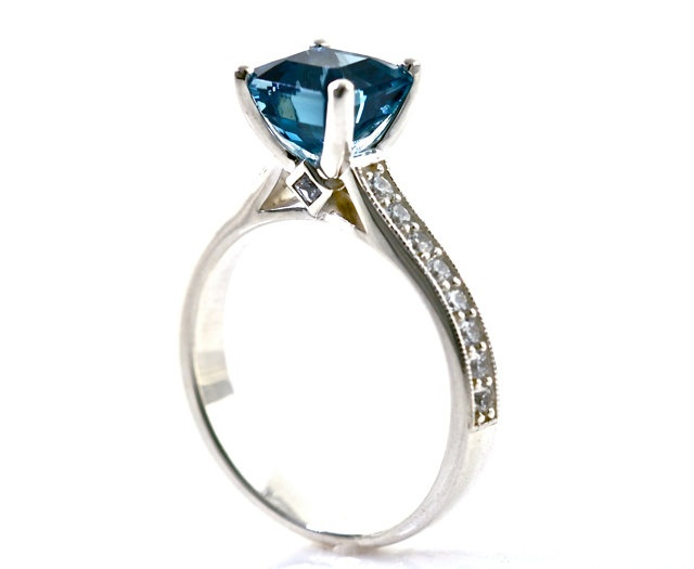 14K Asscher London Blue Topaz Engagement Ring Cathedral Diamond Solitaire 14K 18K White Yellow Rose Gold Platinum Bridal Jewelry. $1,240.00, via Etsy.