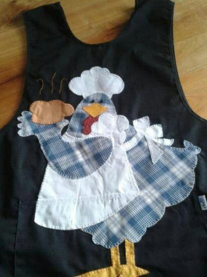 Apron with a chicken applique....SWEET.