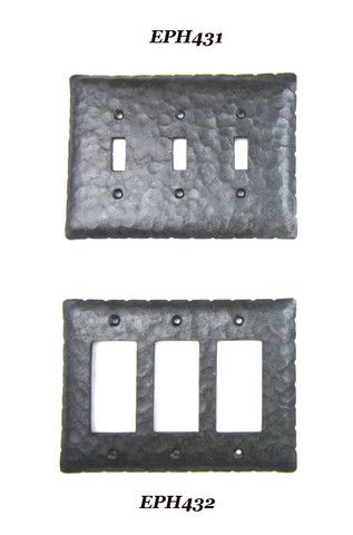 Ep4 Series Rancho Style Rustic Wrought Iron Triple Switch