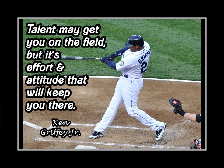 "Baseball Motivation Poster Ken Griffey Jr Mariners Photo Quote Wall Art 5x7""- 11x14"" Talent Gets U On Field But Effort & Attitude -Free Ship by ArleyArt on Etsy"