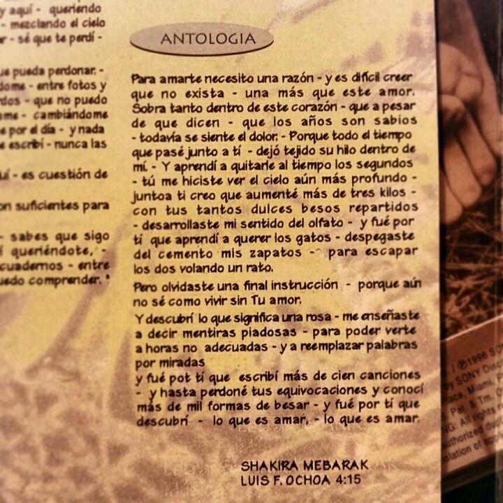 Hoy noche escuchando #antologia de shakira, para variar un poco..