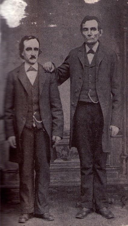 Fig. 7-C- Edgar Allan Poe poses with Abraham Lincoln in Mathew Brady's Washington, D.C. studio- February 4th, 1849. WAT