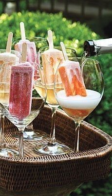 Popsicles in Prosecco: A colorful, bubbly adult dessert perfect for a summer birthday party.