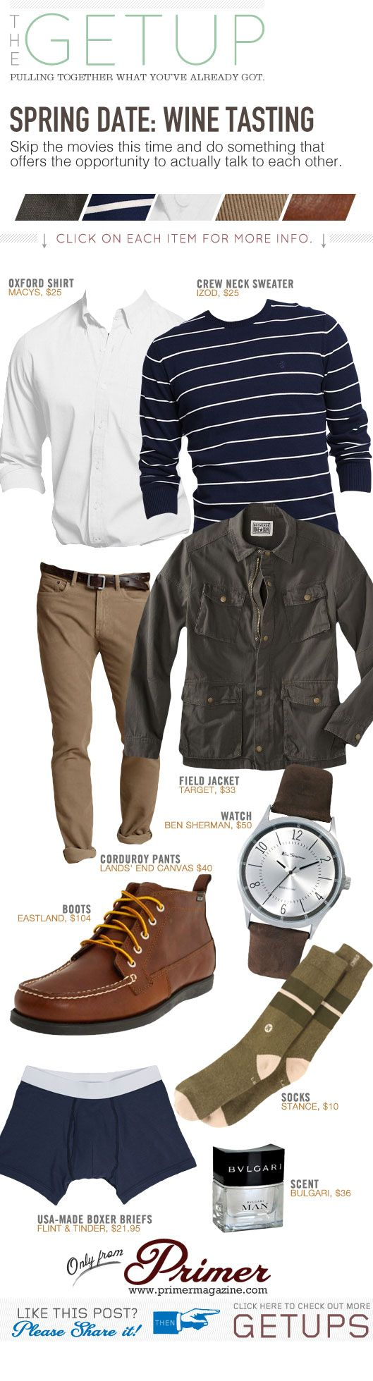 I believe this would work equally well in the fall. The Getup: Spring Date – Wine Tasting - Primer