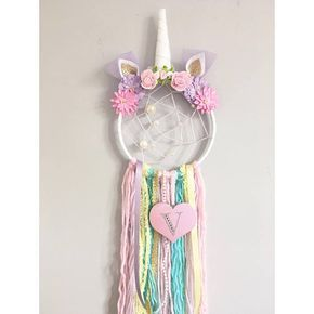 personalised unicorn dreamcatcher with added webbing nursery decor siempre creativa. Black Bedroom Furniture Sets. Home Design Ideas