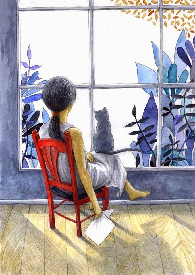 Reading with cat. (Georgiana Chitac)