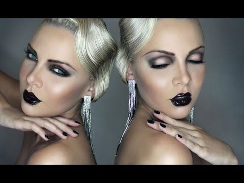 Modern take on the look, with super dark lips and for the eyes, more contrast between lid and crease.