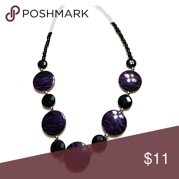 Purple and black statement necklace Alternating purple/black & black circles with seed beads Jewelry Necklaces