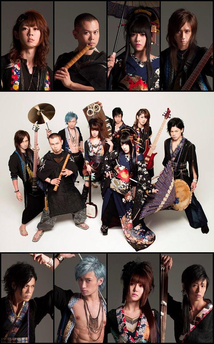 Wagakki Band: Yuko Suzuhana, Kiyoshi Ibukuro, Daisuke Kaminaga, Beni Ninagawa, Kurona, Machiya, Asa  & Wasabi