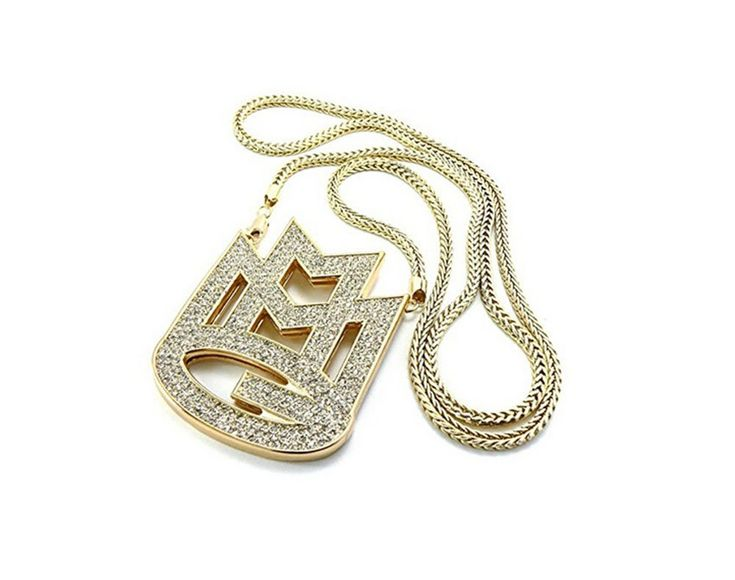 """GALHAM - New Iced Out Gold Rick Ross Maybach Music Group MMG Pendent & 36"""" / 3mm Franco Chain Necklace 