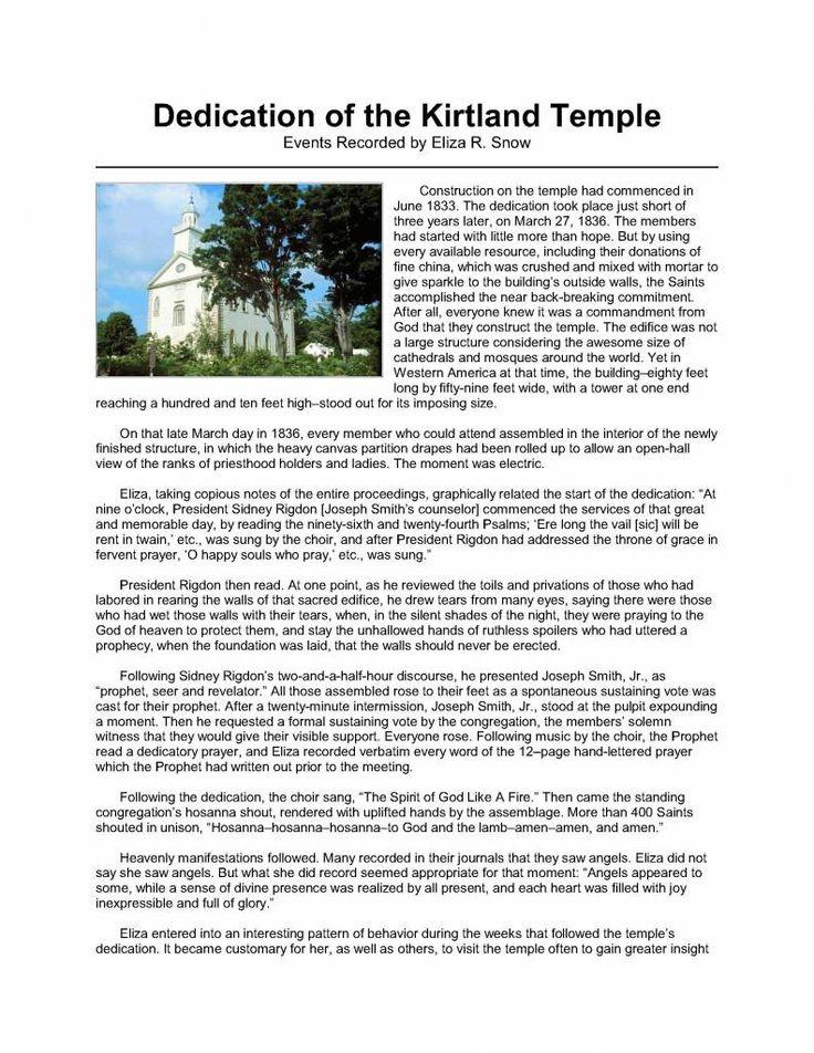 Dedication of Kirtland Temple