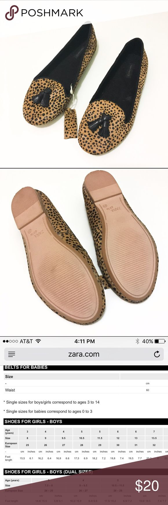 Zara girls leopard flats Brand new. Says size 31 which is a size 13 in US size as per the Zara website(see last picture). These are super cute and stylish with faux cheetah hair and a cute tassel adorn. Zara Shoes Dress Shoes