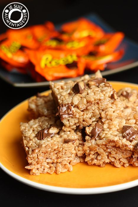 Reese's Peanut Butter Rice Krispies Squares - Je suis alimentageuse