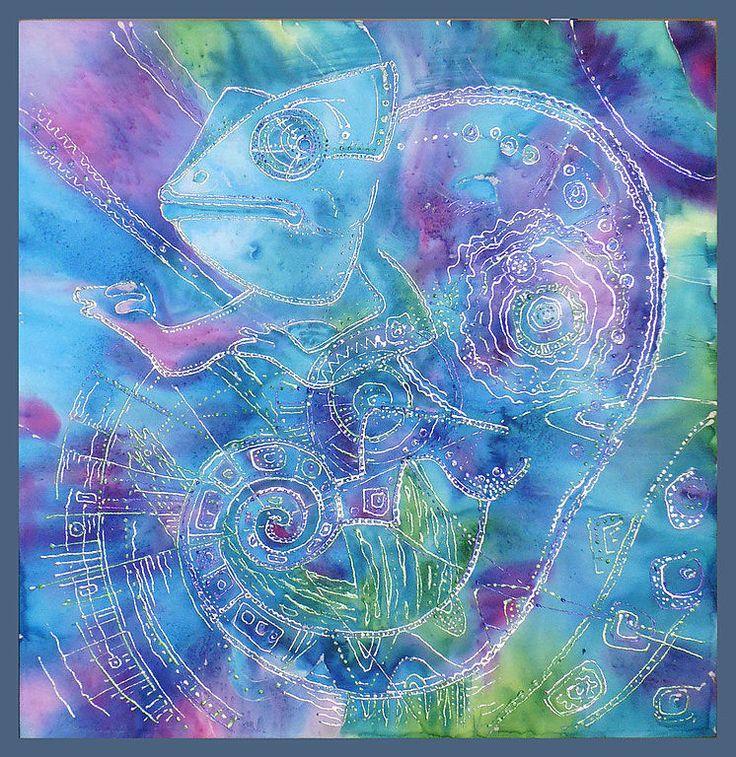 Купить Батик.Хамелеон. - сиреневый, фиолетовый, синий, серебряный, хамелеон, акрил, анилин, подарок