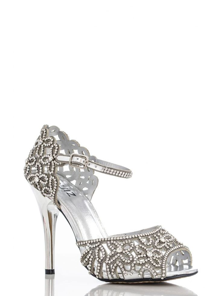 Silver Flower Diamante Sandals