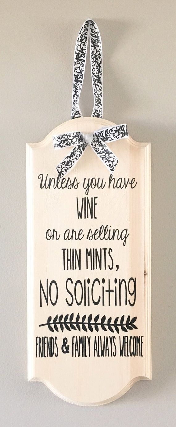 No Solicitation Sign Funny No Solicit Sign Wine by OhLOLAandco