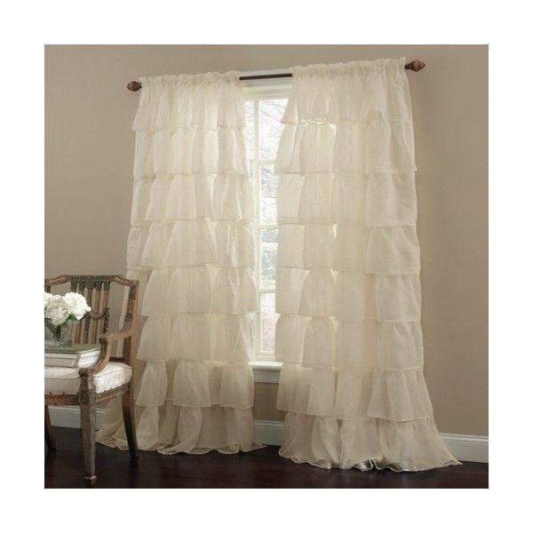 Cream 63 Long Gypsy Shabby Chic Ruffled Window Curtain Panel Shabby Chic
