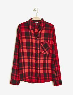 Chemise basic à carreaux rouge et noire femme • Jennyfer