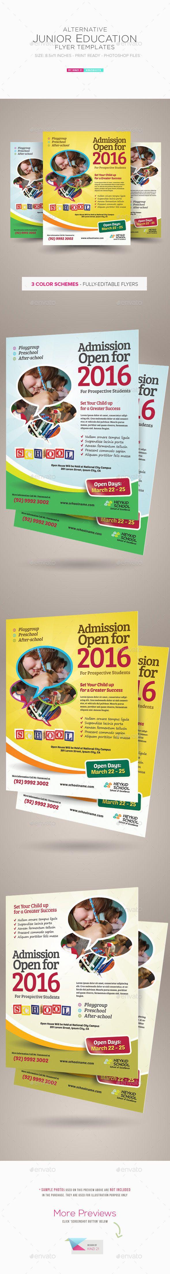 Junior Education Flyers — Photoshop PSD #curriculum #kindergarten • Availabl…
