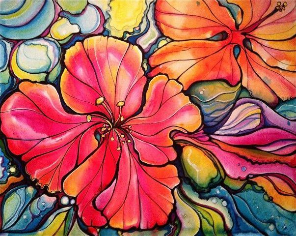 hibiscus, flowers, colleen wilcox art