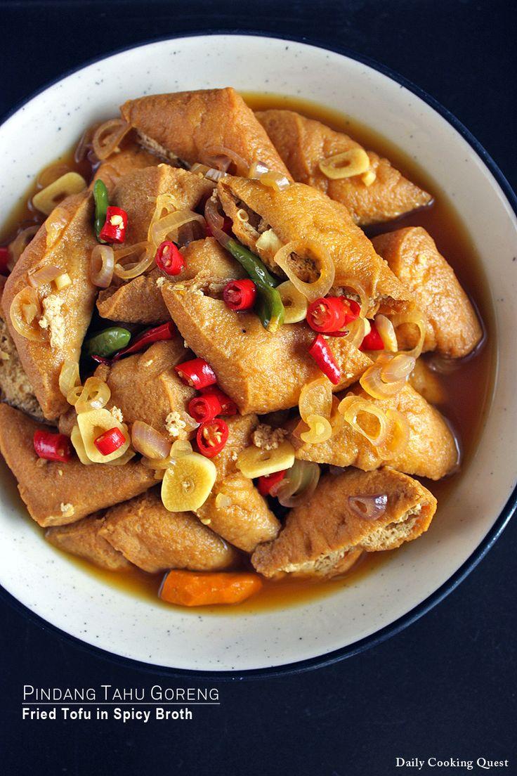 Pindang Tahu Goreng - Fried Tofu in Spicy Broth via @Anita Jacobson