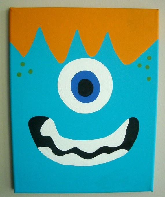 Image Detail For  Jumping Beans Monster Bathroom Collection   Coordinating  Canvas (11 X .
