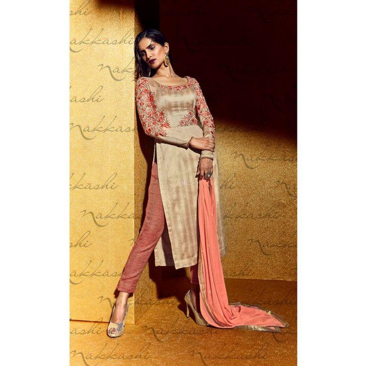 Beige Georgette Party Wear #Churidar Kameez With Dupatta- $61.54