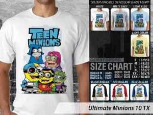 Kaos Film Minions Universal, Kaos Film Minions Junior, Kaos Film Minions Kids Size, Kaos Minions Game of Minions
