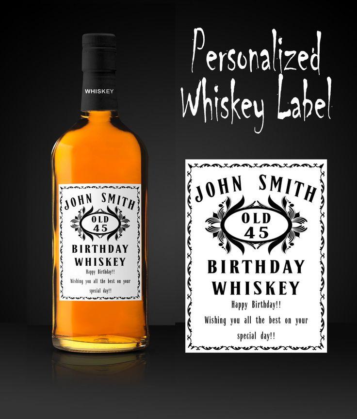 Whiskey Etikett, Personalisiertes Whiskyflaschen Etikett, Whisky Etikett Geburtstags Etikett Digitales Whiskey Etikett von FineArtHunter auf Etsy