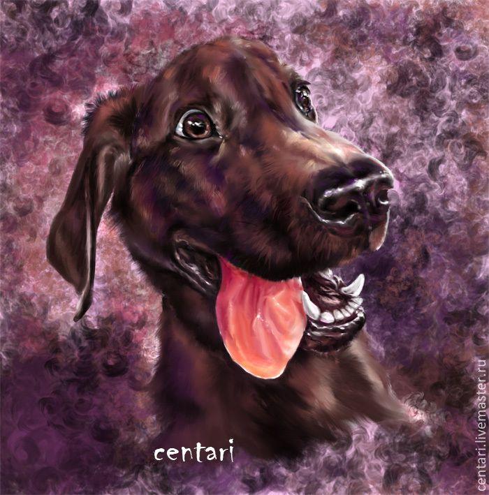 Купить Шоколадный восторг - коричневый, собака, радость, фотошоп, планшет, Фотошоп, планшет
