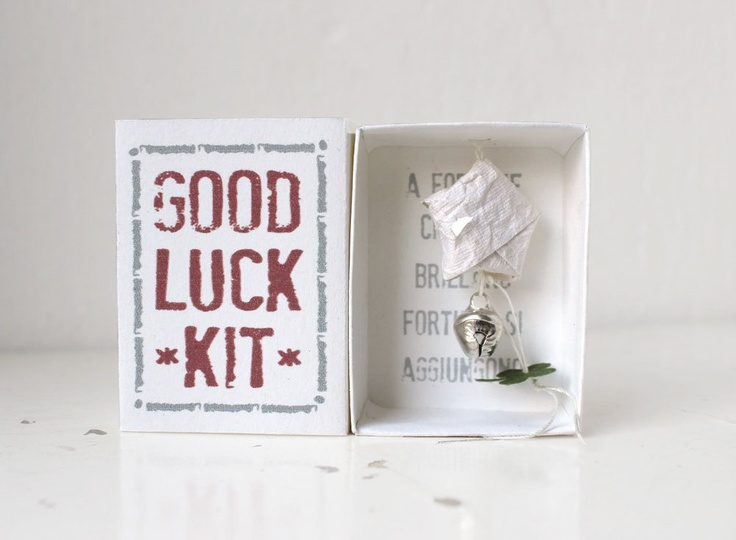 Good Luck Kit: origami dream star, charm bell and four-leaf clover in a matchbox