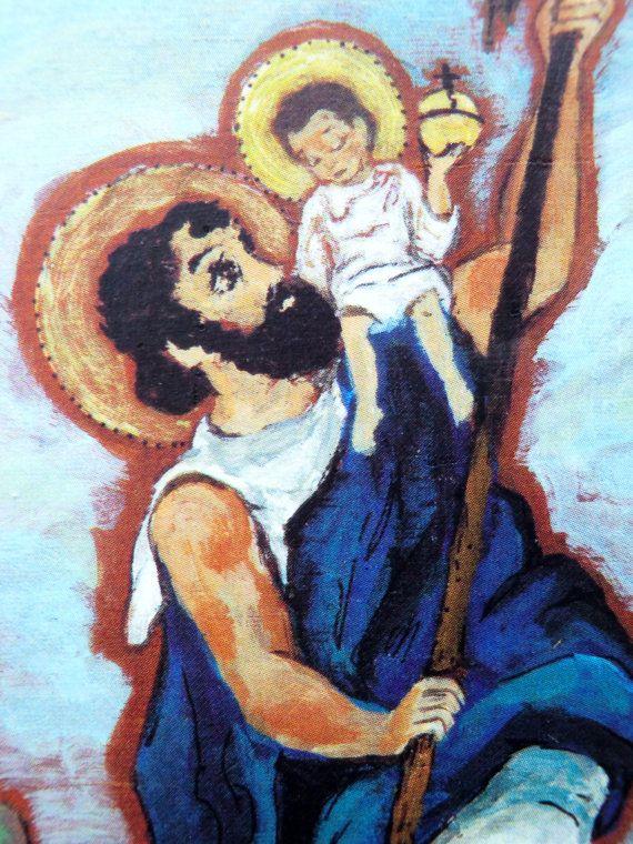 St Christopher medal World Traveler travels retablo by Art4thesoul