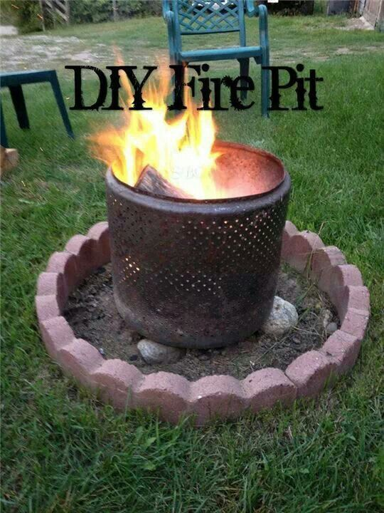 use an old washer dryer drum for a fire pit outdoor living spaces pinterest fire pits. Black Bedroom Furniture Sets. Home Design Ideas