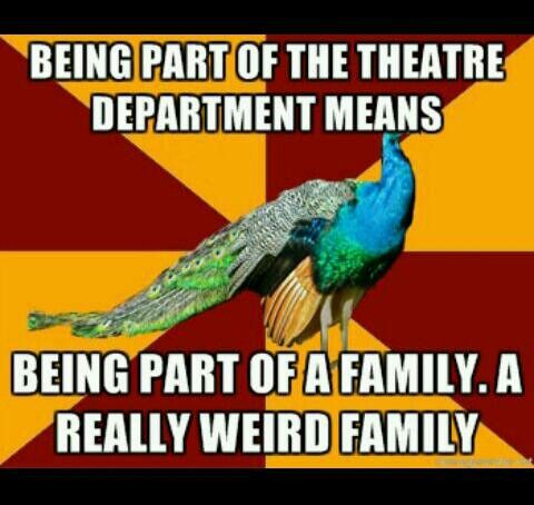 Like I mean my parents were on brodway my brother does theater for a living I do theater make up(and do theater) and my brother josh teaches dance....