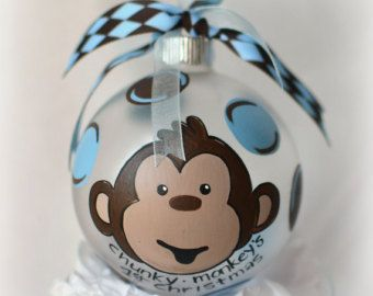 Personalized Monkey Christmas Ornament Hand Painted Glass Ball Babys First Christmas Pink Or Blue Diy Ornaments Pinterest Christmas Ornaments