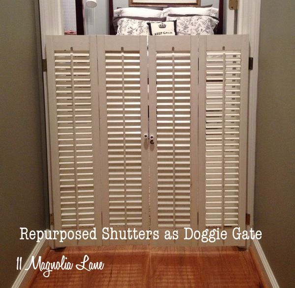 Vintage plantation shutters repurposed as doggie gate at 11 Magnolia Lane ~I ♥ this idea as a baby gate... to remind the other kiddos when the baby is sleeping.