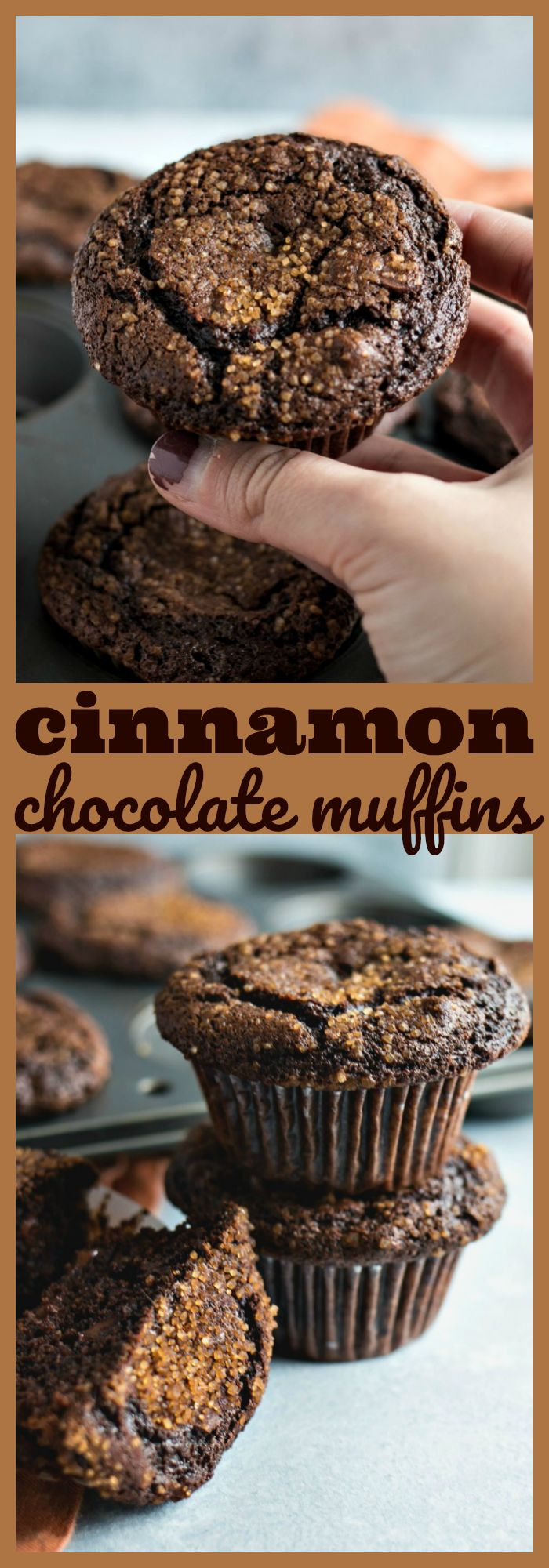 Cinnamon Chocolate Muffins – Chewy triple chocolate muffins are spiced with cinnamon and topped with cinnamon sugar for the perfect touch of crunch